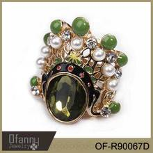 Hot Sale Emerald Gold Ring Big Stone Sterling Gold Ring Fashion Rings