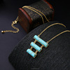 Qingdao latest simple gold pendant necklace,cheap gold turquoise jewelry design(PR1233)