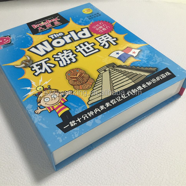 Book shaped full color printing box, custom printed box with magnet