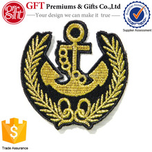 Fashion embroidery badge with merrow border and bones logo for wholesale