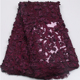 Burgundy Europe Style 3d Beaded Lace Fabric French Lace Fabric Net Lace Fabric