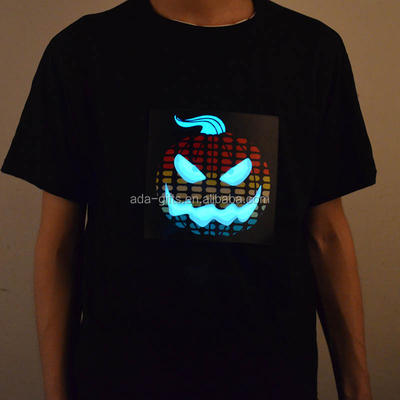 100% cotton Halloween pumpkin led panel t shirt led equalizer t shirt