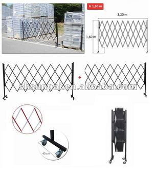 movable temporary steel road gate folding retractable traffic barrier