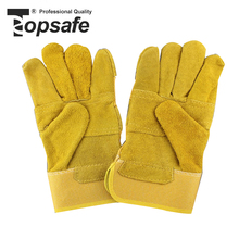 2018 Custom made china yellow recycled protection safety leather palm work gloves