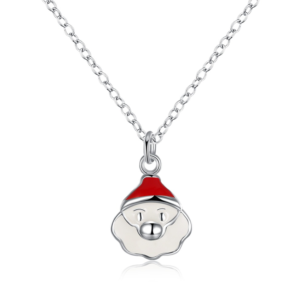 Christmas white santa claus silver necklaces for women