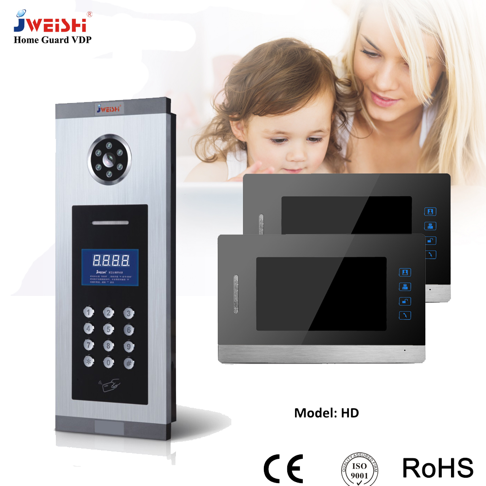 7 inch video door phone with RFID keyfobs doorbell wired system