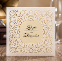 Customize Off-White Hollow Damask India wedding invitation card new pocket design Laser cut unique circle design good quality