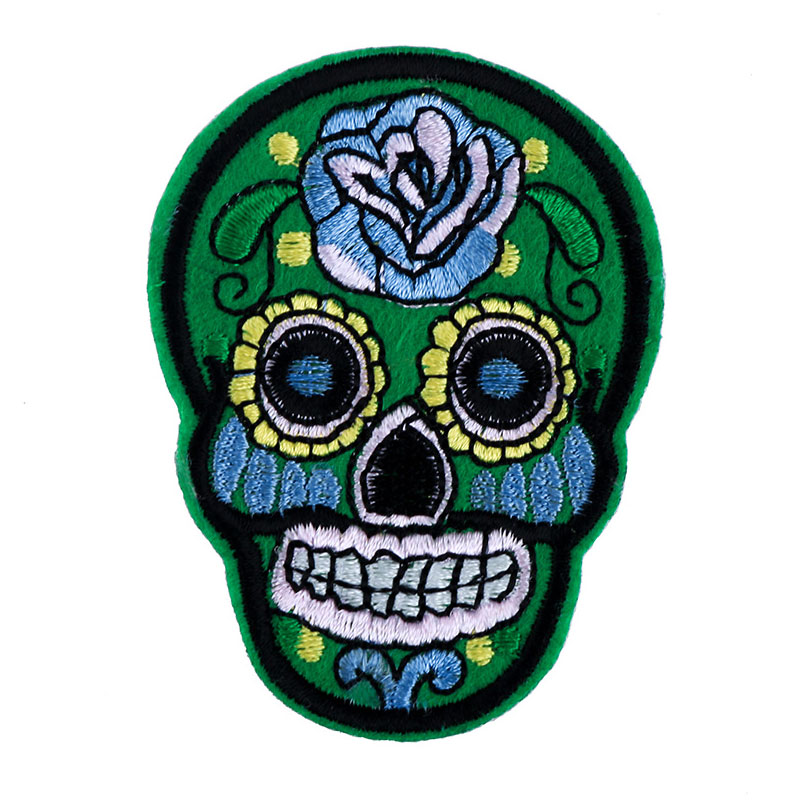 2017 New Fashion Mix Color Flower Skull Skeleton Embroidery Iron On Patches For Clothes Appliques