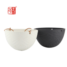 Wall Hanging Ceramic Pots, Patio Levitating Flower Pot With Rope Holder / levitating plant pot