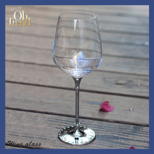 High Quality Customized Crystal Fancy Giant Coloured Red Wine Glasses With diamond Glassware