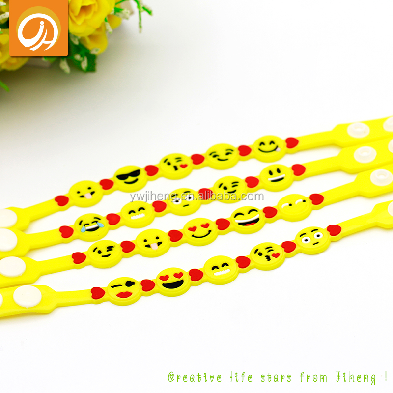 Bulk Buy Form China Wholesale Jewelry Cheap PVC Emoji Bracelets