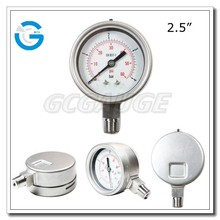 High quality 2.5inch 63mm bottom connection pressure gauge bourdon tube with DIN bayonet ring