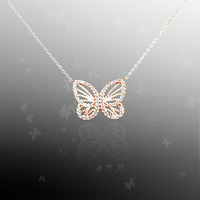 High Quality Gold Plated 925 Silver Diamond Yellow Butterfly Necklace For Ladies