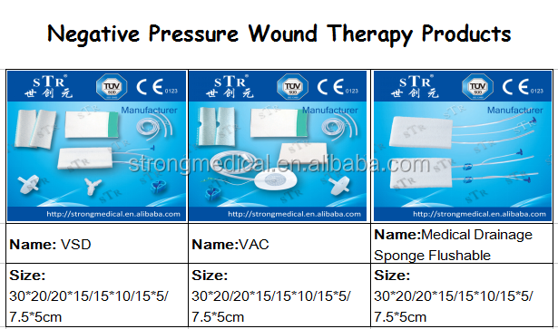 NPWT wound care dressing kit, tubing pad, PU film