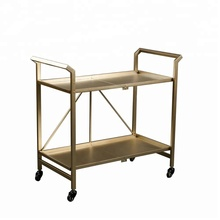 Mayco Indoor or Outdoor Gold Folding Metal Rolling Serving Bar Cart