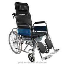 GT02608GC high back reclining steel frame commode manual wheelchair with toilet for elderly/adjustable back height