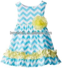 flower children's dresses GIRLS Rare Editions Turquoise White Chevron Dress baby dress smocky little girls skirt design
