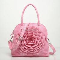 Guangzhou factory outlet bonia leather handbag manufacturer asia handbags with flower on front of handbag