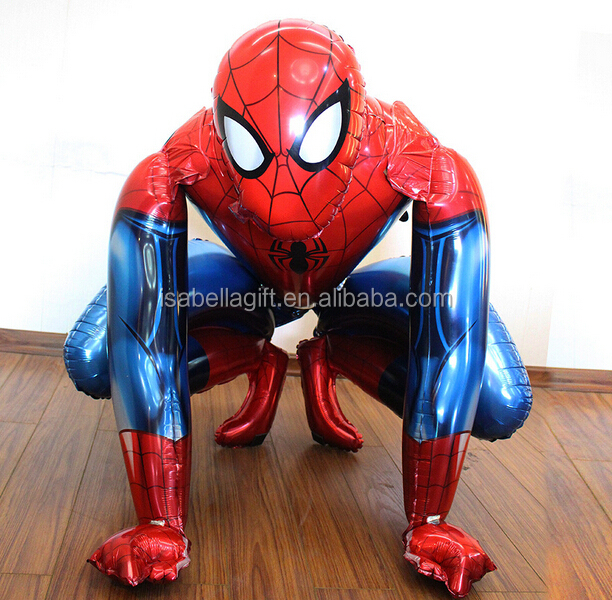 Wholesale high quality 3D airwalker spiderman cartoon helium balloons