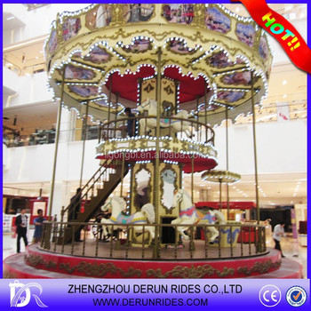 2015 Attractions outdoor playground carousel amusement park for kids, luxury double deck carousel for sale
