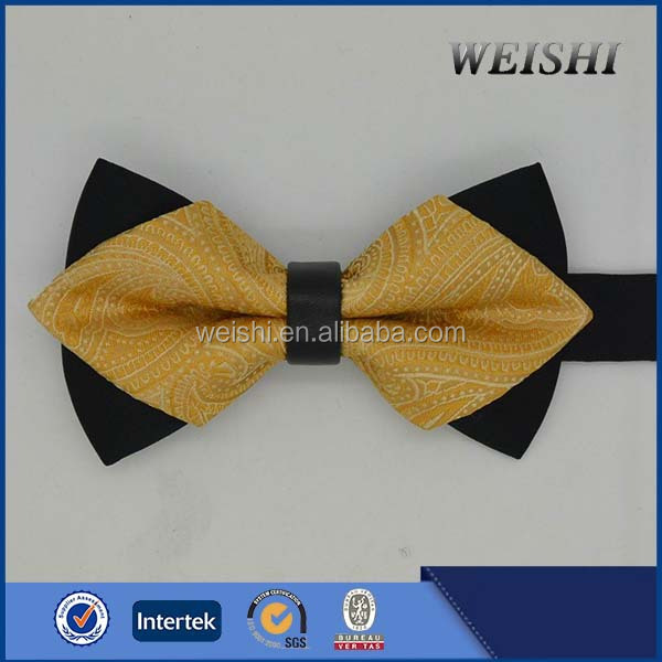 Yellow Pre-tied Diamond Bow Tie For Mens