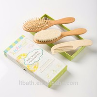 children hair accessories set goat baby wooden hair brush for baby comb and brush set