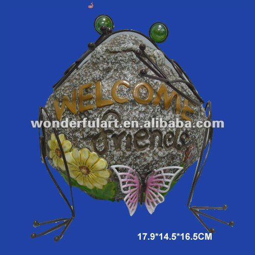 welcome stone garden ornament frog