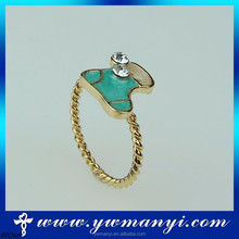 New arrival colorful fashion best seller cute diamond shoe shaped rings for girl R0268