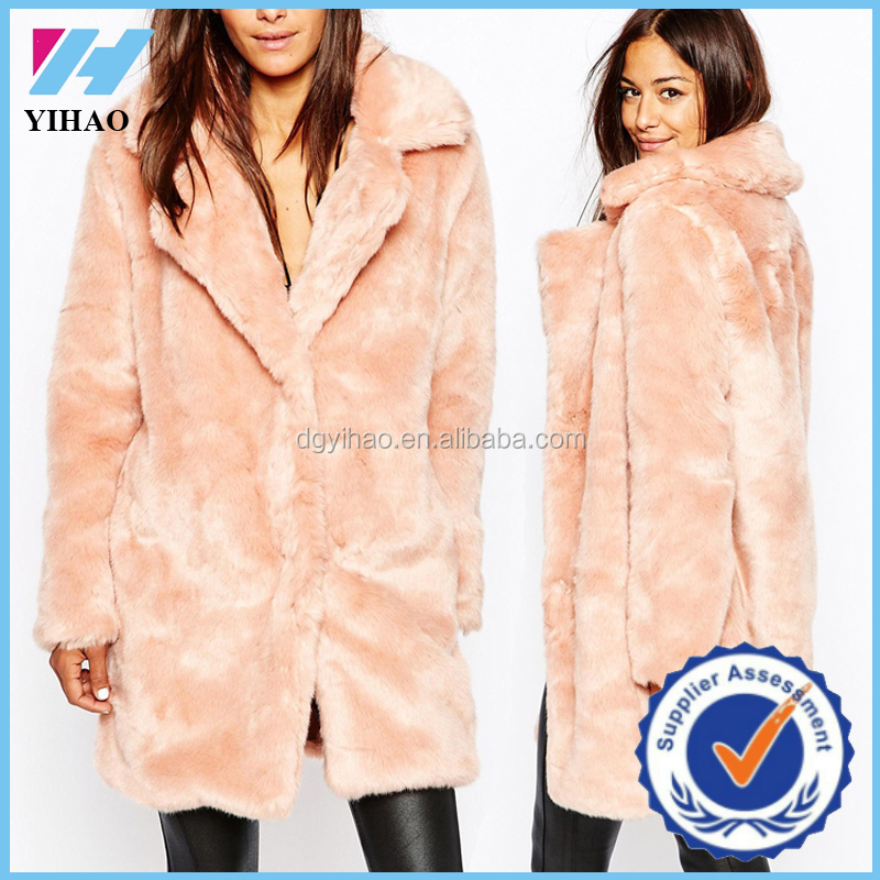 clothing maunfacturer Online shopping pink faux fur coat