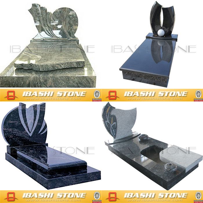 Carved granite tombstone in various colors and style