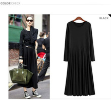 Woman dress belts black color long sleeve maxi dress one piece pleated cotton dress