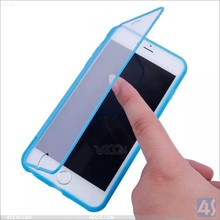 2015 flip PC silicone case cover for Iphone 6 plus, screen protective slicone case for Iphone 6 plus