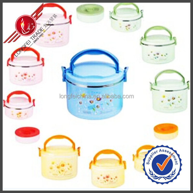 Plastic Container Three Pieces Flower Decaled Thermal Plastic Food Warmer With Handle