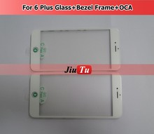 Mobile Front Glass Replacement For ipone 6plus / Black White Glass Lens With Oca With Frame For ipone 6 Plus