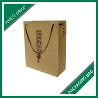 CUSTOM LOGO KRAFT PAPER MATERIAL WINE BOTTLES PACKAGING BAGS WITH HIGH QUALITY