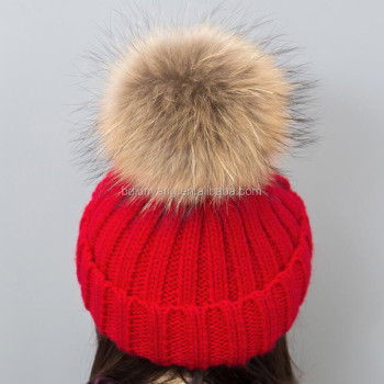 large and fluffy real raccoon fur hat pom poms puffball winter hat