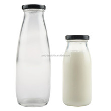 Cheap 500ml Empty Glass Milk Bottle With metal lid