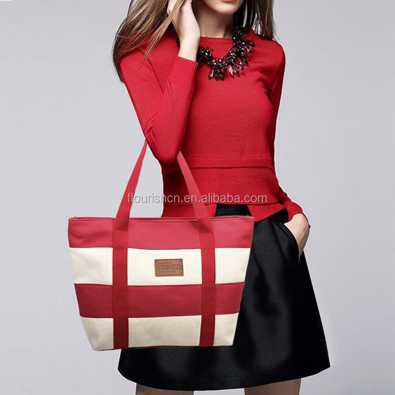Wholesale Monogrammed Polychrome Women canvas stripe Tote Bag