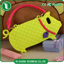 Cartoon cute piggy silicone phone case for iphone 5 case handbag shape with hand strap