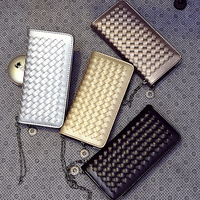 W168 2016 NEW design top quality clutch zipper weave ladies wallets