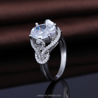 Attractive Graceful 925 Silver CZ Cow Wedding Rings