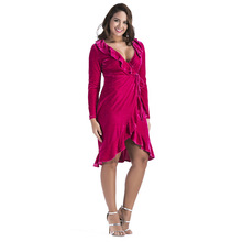 Fashion Velvet Women Pleated Wrap Dress For Fat Ladies