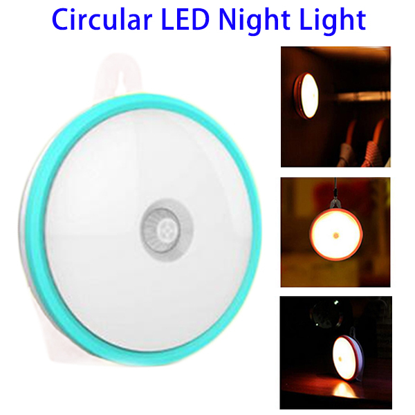 Private Label Cordless Rechargeable Battery Powered Motion Sensor Closet Circular LED Night Light