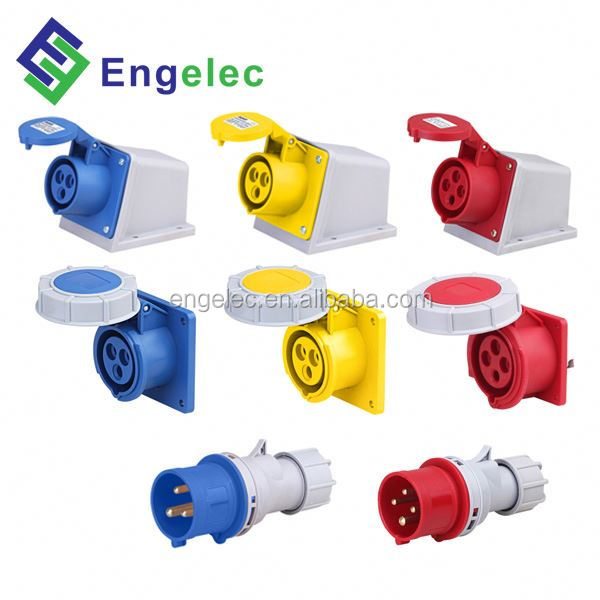 Industrial plug&socket 16A/32A/63A/125A,2P+E,3P+E,3P+N+E 250v to 110v plug adapter