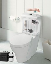 Waterproof plastic battery power operation toilet tank flush mechanism