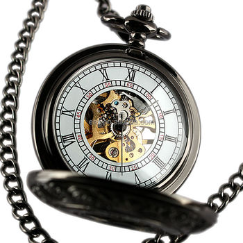 ESS Black Skeleton Mechanical Pocket Watch With Chain WP117
