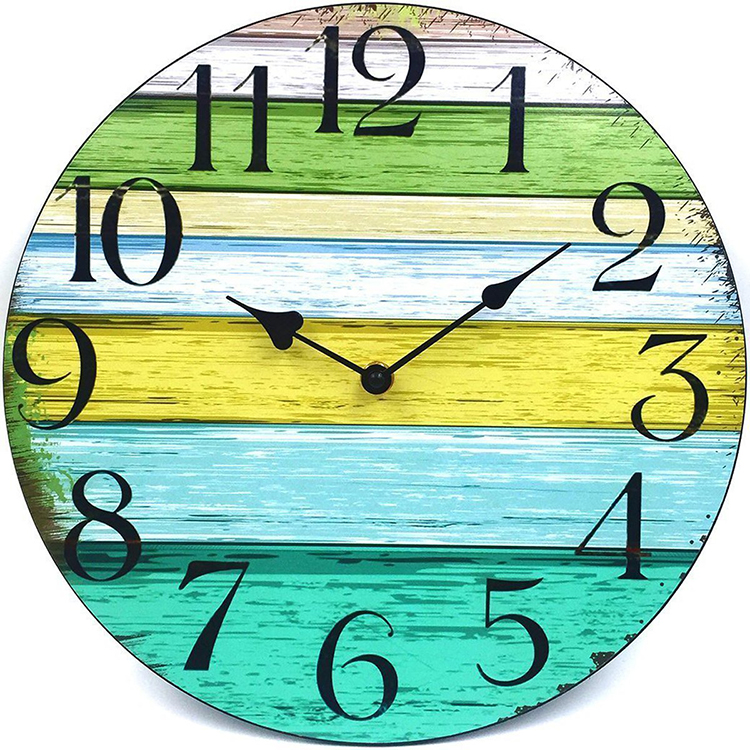Vintage Rustic Country Tuscan Style Wooden Decorative Round Wall Clock