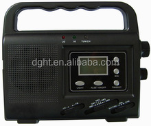 Solar&Dyanmo power emergency lighting AM FM portable radio,with LCD clock and CE certificate