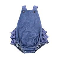2017 Summer Baby Clothes Newborn Baby Clothing Denim Ruffle Bodysuit Baby Girls Denim Bubble Romper