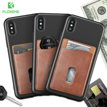 FLOVEME Leather Credit Card Holder Wallet For Samsung S8 For iPhone X 7 7 8 Plus 10 Case Cell Phone